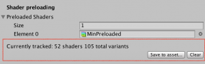 Unity Graphics Settings - Shader Preloading