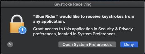 macOS Keystroke Receiving dialog