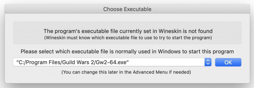 Wineskin - Choose Executable